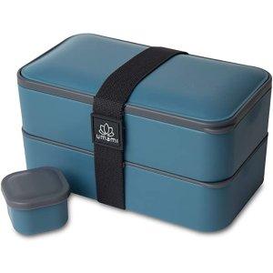 UMAMIISM可放微波&洗碗机&冰柜!高级双层便当饭盒-蓝色