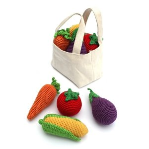 Cheengoo Veggie Rattle Set in Market Bag