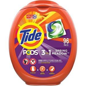 立减$3 96颗$17.37洗衣液$9Tide、Gain 洗衣球、洗衣液热卖 收3合1系列、敏感肌轻柔系列