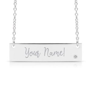 SuperJewelerFREE ENGRAVING Sterling Silver Diamond Accent Bar Necklace, 18 Inches