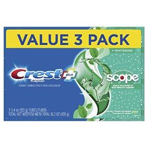 $3.99(原价$8.77) 1支仅$1.3Crest 全效超白清新牙膏 153g x 3支装