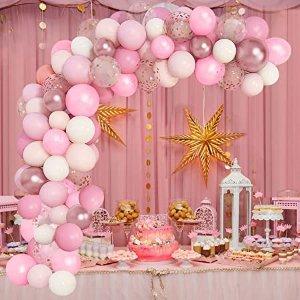 梦幻粉色派对气球装饰品105件套
