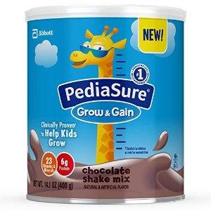 PediaSureGrow & Gain Non-GMO Chocolate Shake Mix Powder, Nutrition Shake for Kids, 14.1 oz, 3 count