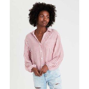 AEOAE Striped Button Up Shirt