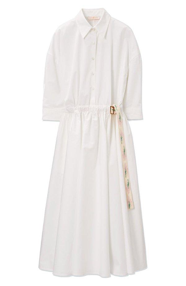 Ribbon Trim Poplin衬衫裙