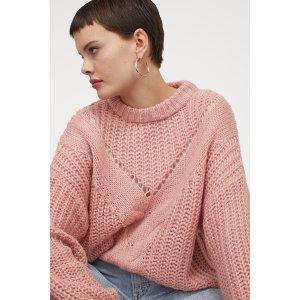 H&MXS/S码有货!粉色针织毛衣