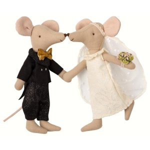 MAILEG老鼠新郎新娘布艺玩偶