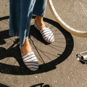 女士条纹渔夫鞋