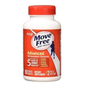 $7.49 (原价$29.99) 美亚自营白菜价:Move Free 红瓶基础款维骨力80粒