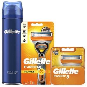 Gillette含手柄、刀片*4、剃须膏Fusion5 剃须套组