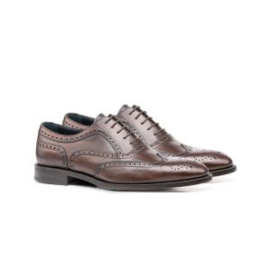 Coffee Deco Leather Men Oxford Wing Brogue | DIS
