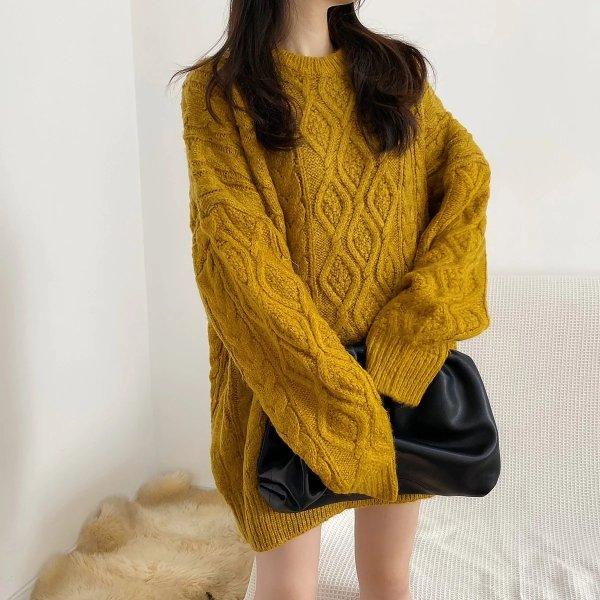Soft 姜黄粗编织毛衣