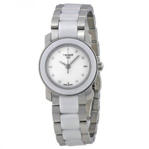 $140TISSOT T-Trend Cera White Ceramic Diamond Ladies Watch