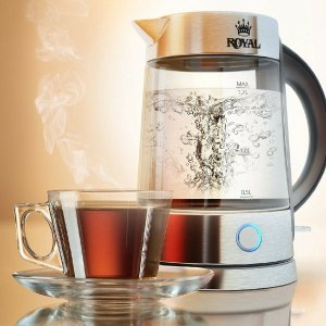 $19Royal Electric Kettle (BPA Free) - Fast Boiling Glass Tea Kettle (1.7L) Cordless, Stainless Steel Finish Hot Water Kettle – Glass Tea Kettle, Tea Pot – Hot Water Dispenser