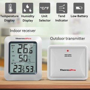 9折 €17.99(原价€19.99)ThermoPro TP60S 温度湿度计 室内外同时显示 及时做出调整