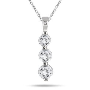Now $489(Org. $1199)1 CARAT TW THREE STONE DIAMOND PENDANT IN 14K WHITE GOLD