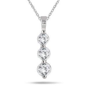 现价$489(原价$1199)1克拉14K白金钻石挂坠项链