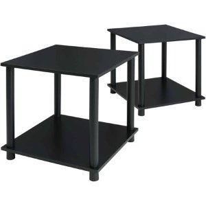$12Mainstays No Tools 2-Pack End Table, Solid Black