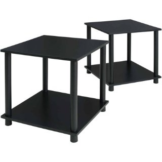 $18Mainstays No Tools 2-Pack End Table, Solid Black