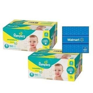 两箱送$20礼卡 增加Baby Dry单片$0.16起Pampers 婴儿纸尿裤热卖,收Swaddlers