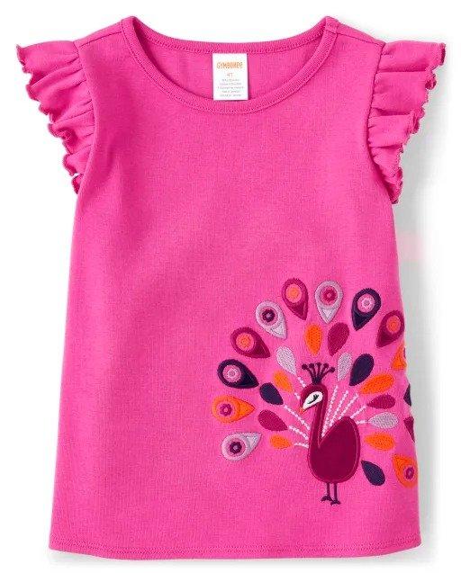 女童孔雀刺绣短袖