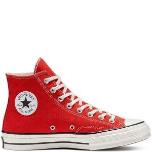 Converse大红色高帮帆布鞋