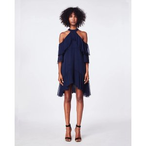 Nicole MillerSolid Silk Mock Neck Ruffle Dress