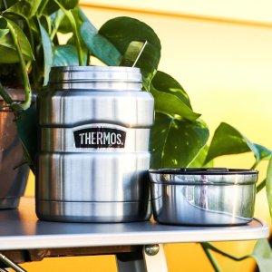 低至7.9折 €24收金属银Thermos 焖烧杯 保冷保热 上学上班带饭 旅行野营便携