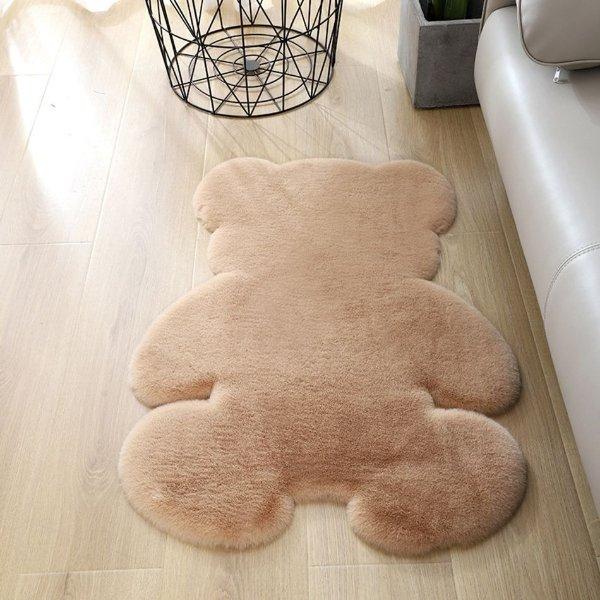 人造兔毛可爱熊熊造型地垫