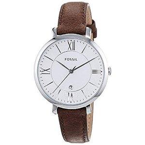 FossilJacqueline Brown皮革手表带日期功能的女士石英手表