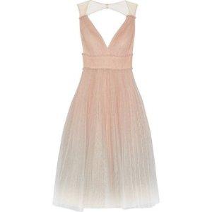 c74d7092b7 MARCHESA NOTTEPleated degrade metallic tulle midi dress