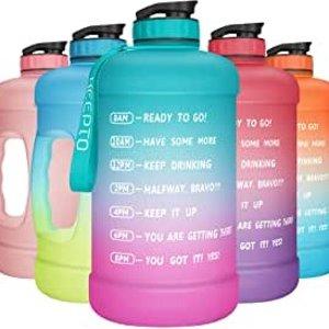 $9.09 吨吨喝水(原价$22.99)KEEPTO 渐变色带刻度运动超大水壶 1加仑容量