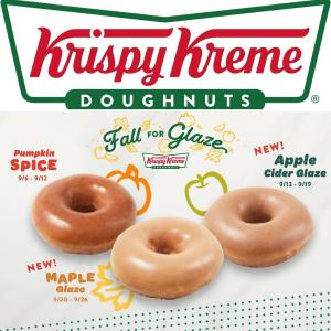 南瓜、焦糖、肉桂面包拿铁预告:Krispy Kreme 秋季限定 南瓜、苹果、枫糖9款口味甜甜圈