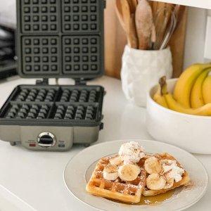 $99.99(原价$139.99)Cuisinart WAF-350C 华夫饼机 可拆卸不沾板 6档温度调节