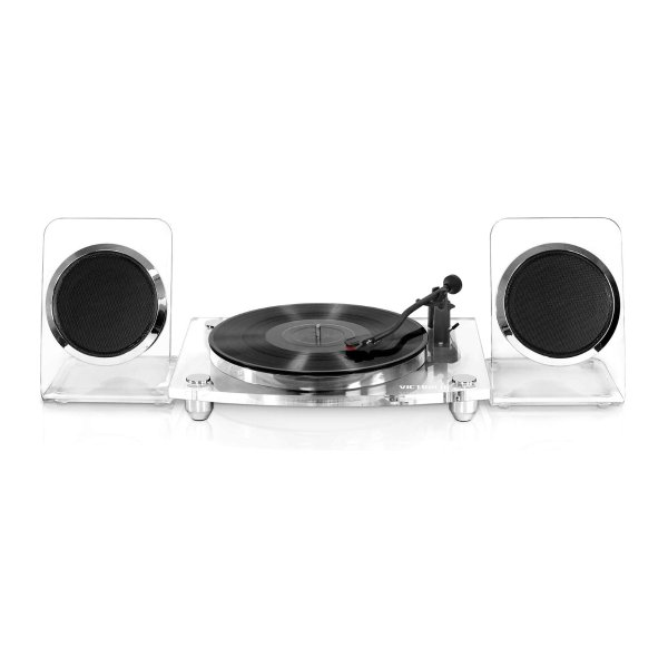 Victrola Modern Acrylic 亚克力透明黑胶唱机 带2个无线扬声器