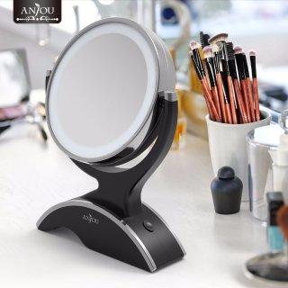 $16.99(原价$25)Anjou 黑色圆形LED化妆镜6.7折热卖