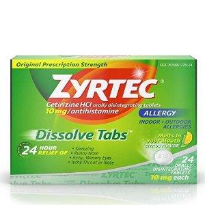 $18.84Zyrtec 24 Hour Allergy Dissolve Tablets with Cetirizine HCl Antihistamine, Citrus Flavored, 24 ct