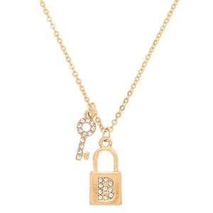 Gold Lock & Key Initial Pendant Necklace - B