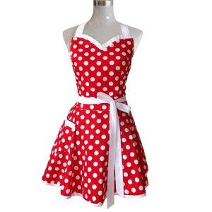 Hyzrz 可爱红白点复古风围裙