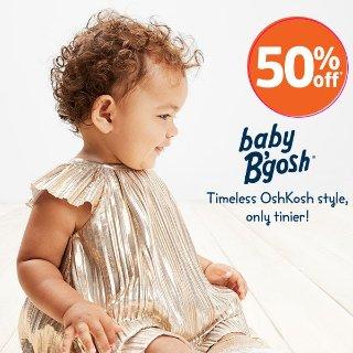 包邮+5折+额外7.5折 选招牌背带裤、绒绒连体服折扣升级:OshKosh BGosh 婴儿服饰上新 刺绣、印花、金属色超多时尚设计