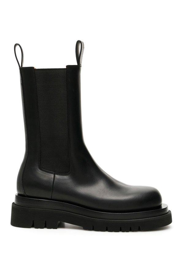 纯黑厚底靴