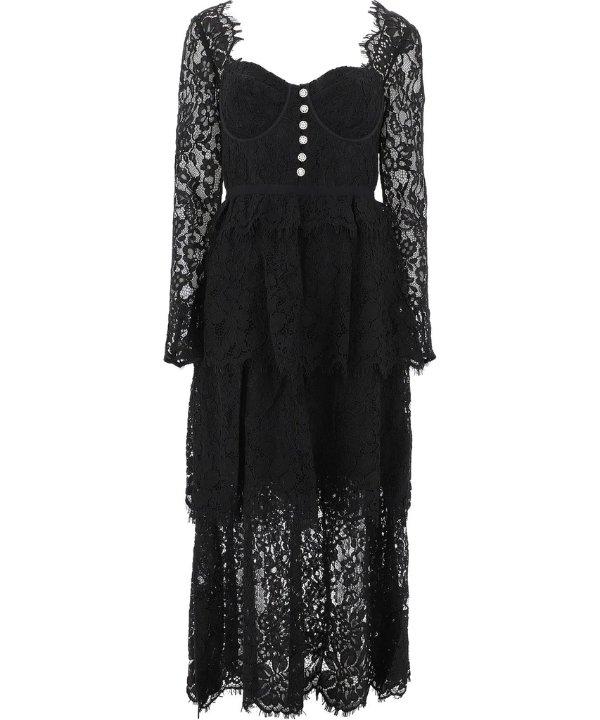 Lace Tiered黑色蕾丝中裙