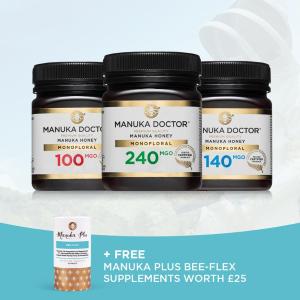 直降£105!仅售£45+免邮Manuka Doctor 超值蜂蜜套装末班车,加赠Bee-Flex补充剂