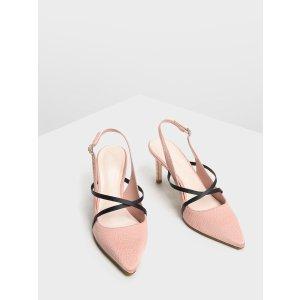 Charles & Keith粉色鳄鱼纹高跟鞋