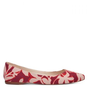 Speakup Almond Toe Flats - Red Multi Floral Fabric