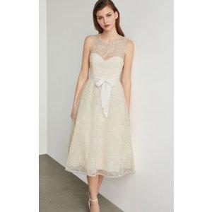BCBGMAXAZRIAMetallic Floral Embroidered Flared Dress