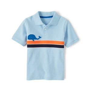 GymboreeBoys Short Sleeve Embroidered Whale Chest Stripe Pique Polo - Whale Hello There