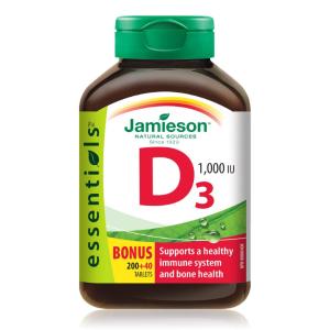 $5.2(原价$8.27) 补钙好帮手Jamieson 健美生1000 IU维生素D3 240粒