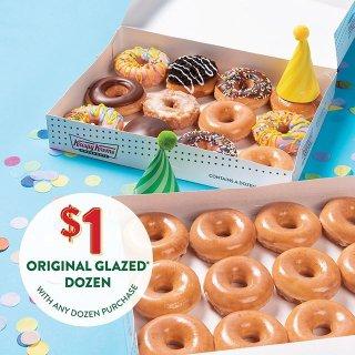 $1领12个甜甜圈 整整一打白菜价:Krispy Kreme 生日新品纪念超值活动