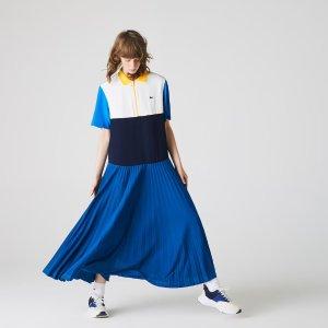 Lacoste拼色百褶Polo裙